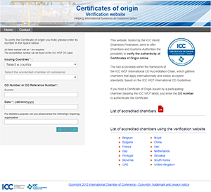 Certificates of origin Verification website