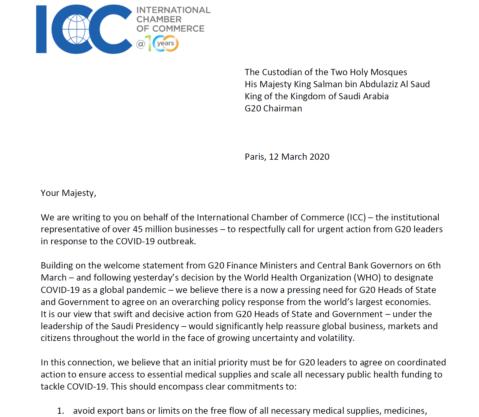 ICC Calls For Urgent Action From G20 Leaders In Response